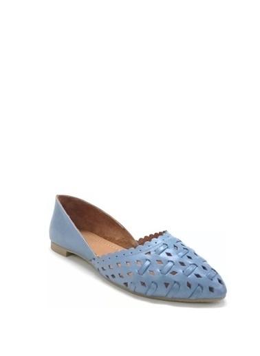 Ballerins Hakiki Deri El Yapımı Mavi Babet Blrs-112 Mavi